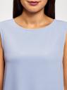 Топ прямого силуэта с круглым вырезом oodji #SECTION_NAME# (синий), 14911014/48728/7000N - вид 4