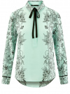 Блузка свободного силуэта с завязками oodji #SECTION_NAME# (бирюзовый), 21411094-1/36215/6529F