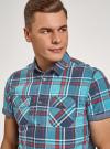 Рубашка хлопковая с короткими рукавами и нагрудными карманами oodji #SECTION_NAME# (синий), 3L410152M/49928N/7545C - вид 4