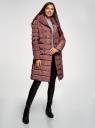 Пальто стеганое с объемным воротником oodji для женщины (красный), 10204049-1B/24771/3102N