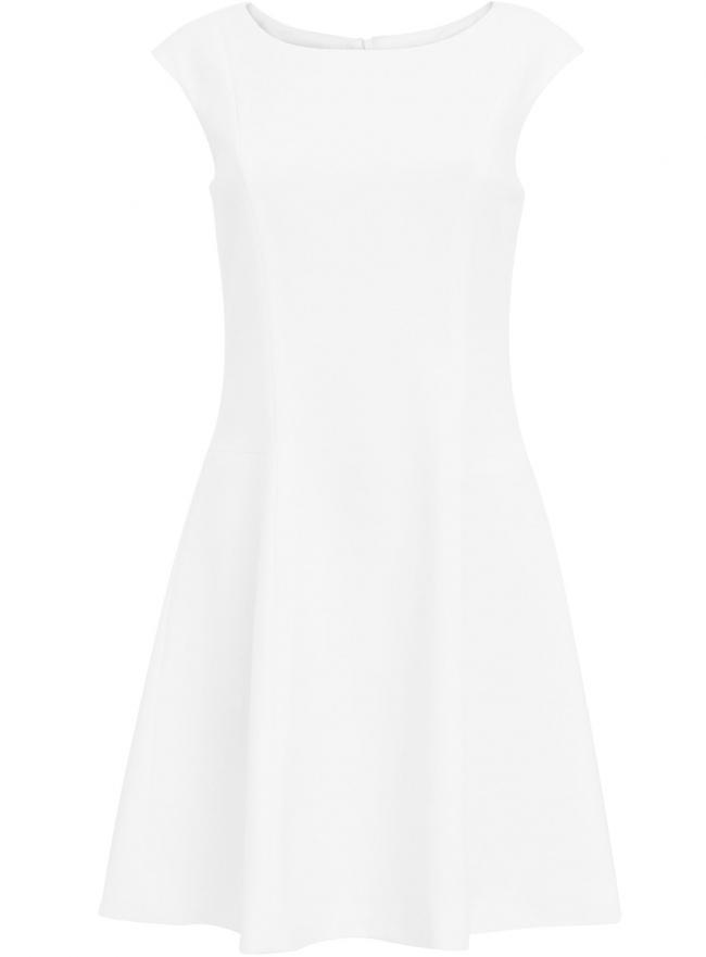 Платье из плотной ткани с овальным вырезом oodji для женщины (белый), 11907004-1/42793/1200N