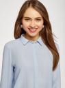 Блузка базовая из струящейся ткани oodji для женщины (синий), 11400368-9B/36215/7001N