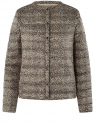 Куртка стеганая с круглым вырезом oodji #SECTION_NAME# (бежевый), 10204040-1B/42257/3329A