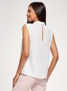 Топ базовый из струящейся ткани oodji для женщины (белый), 14911006B/43414/1200N