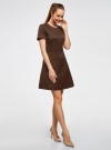 Платье жаккардовое с коротким рукавом oodji #SECTION_NAME# (коричневый), 11902161/45826/3900N - вид 6
