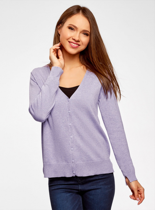 Жакет вязаный на пуговицах oodji для женщины (фиолетовый), 63212586-1B/18239/8000M
