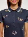 Поло из ткани пике с вышивкой oodji #SECTION_NAME# (синий), 19301001-12/46161/7919O - вид 4