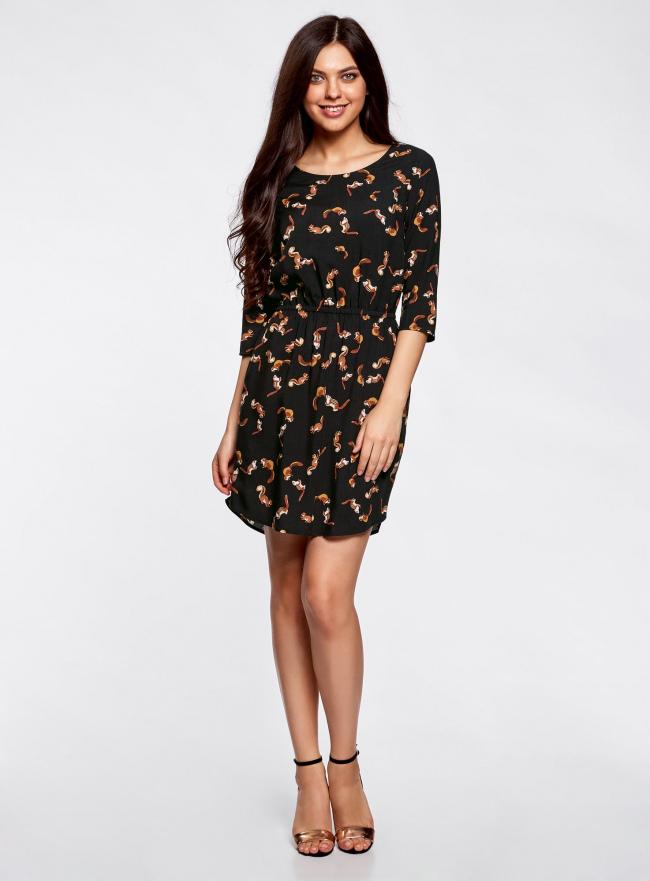 Платье вискозное с рукавом 3/4 oodji #SECTION_NAME# (черный), 11901153-1B/42540/3959A