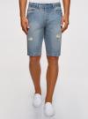 Шорты джинсовые с потертостями oodji #SECTION_NAME# (синий), 6L220016M/35771/7000W - вид 2