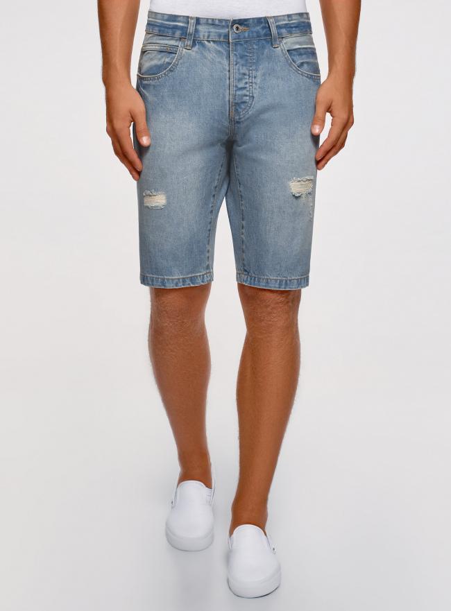 Шорты джинсовые с потертостями oodji #SECTION_NAME# (синий), 6L220016M/35771/7000W