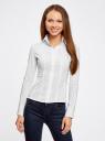 Рубашка хлопковая прилегающего силуэта oodji для женщины (белый), 21407048/42853/1000N