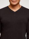 Пуловер базовый с V-образным вырезом oodji #SECTION_NAME# (коричневый), 4B212007M-1/34390N/3900M - вид 4