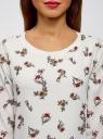 Блузка прямого силуэта на подкладке oodji #SECTION_NAME# (белый), 11411190/48854/1245F - вид 4