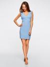 Платье трикотажное с V-образным вырезом oodji #SECTION_NAME# (синий), 14015004/45394/7000N - вид 2