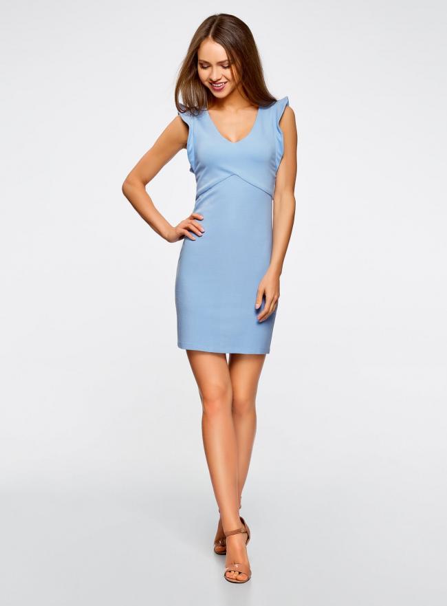 Платье трикотажное с V-образным вырезом oodji #SECTION_NAME# (синий), 14015004/45394/7000N