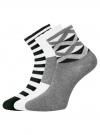 Комплект из трех пар хлопковых носков oodji для женщины (разноцветный), 57102807T3/47613/17 - вид 2