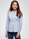 Блузка хлопковая с баской oodji #SECTION_NAME# (синий), 13K00001-1B/42083/7000N - вид 2