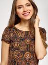Платье прямое базовое oodji #SECTION_NAME# (коричневый), 22C01001-1B/45559/2955E - вид 4