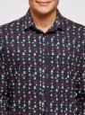 Рубашка приталенная с новогодним принтом oodji #SECTION_NAME# (синий), 3L110347M/19370N/7919G - вид 4