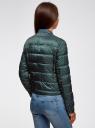 Куртка стеганая с круглым вырезом oodji #SECTION_NAME# (зеленый), 10203072B/46708/6C12G - вид 3