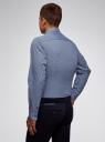 Рубашка хлопковая в мелкую графику oodji #SECTION_NAME# (синий), 3L110327M/19370N/7510G - вид 3