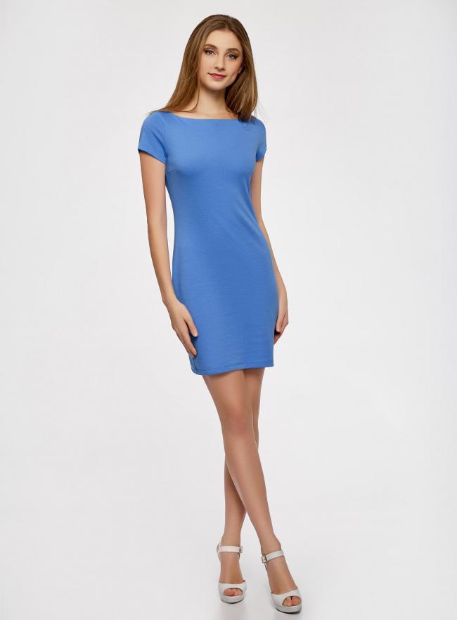 Платье трикотажное с вырезом-лодочкой oodji для женщины (синий), 14001117-2B/16564/7500N