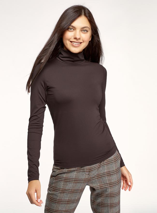 Водолазка базовая облегающая oodji для женщины (коричневый), 15E11001-3B/45297/3900N
