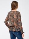 Блузка принтованная с кисточками и резинками oodji #SECTION_NAME# (коричневый), 21411107/17358/3755F - вид 3
