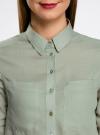 Рубашка хлопковая свободного силуэта oodji #SECTION_NAME# (зеленый), 11411101B/45561/6000N - вид 4