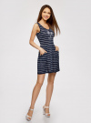 Платье трикотажное без рукавов oodji #SECTION_NAME# (синий), 14005132/42865/7910P - вид 6