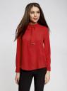 Блузка свободного силуэта с завязками oodji для женщины (красный), 21411094/36215/4500N