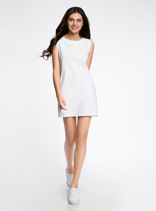 Платье из ткани пике oodji для женщины (белый), 14005074-1B/46149/1000N