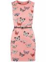 Платье приталенное без рукавов oodji для женщины (розовый), 12C00002B/14522/4119U