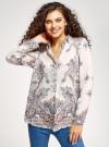 Блузка из струящейся ткани с принтом oodji #SECTION_NAME# (слоновая кость), 21411144-3/35542/3039E - вид 2