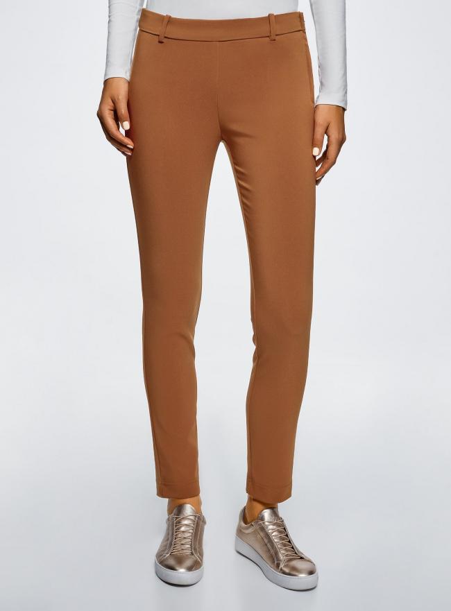 Брюки облегающие на эластичном поясе oodji для женщины (коричневый), 11706196B/42250/3700N