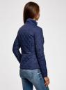 Куртка стеганая с воротником-стойкой oodji #SECTION_NAME# (синий), 10204051/33744/7900N - вид 3