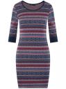 Платье трикотажное с этническим принтом oodji #SECTION_NAME# (разноцветный), 14001064-3/35468/7945J