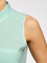 Топ вискозный с рубашечным воротником oodji #SECTION_NAME# (зеленый), 14911009B/26346/6502N - вид 5