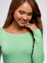 Платье трикотажное облегающего силуэта oodji #SECTION_NAME# (зеленый), 14001183B/46148/6500N - вид 4