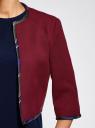 Жакет-болеро с контрастной отделкой oodji для женщины (красный), 22A00002/31291/4900N