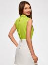 Блузка базовая без рукавов с воротником oodji #SECTION_NAME# (зеленый), 11411084B/43414/6A00N - вид 3