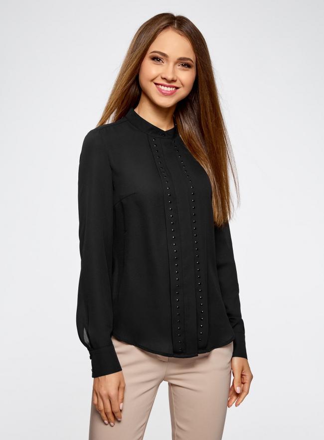 Блузка с металлическими стразами oodji #SECTION_NAME# (черный), 21401247/32823/2900N