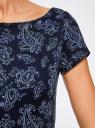 Платье трикотажное с принтом oodji #SECTION_NAME# (синий), 14001117-2/16564/7975E - вид 5