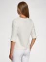 Блузка из струящейся ткани с рукавом 3/4 oodji для женщины (слоновая кость), 11405148/46159/1219F