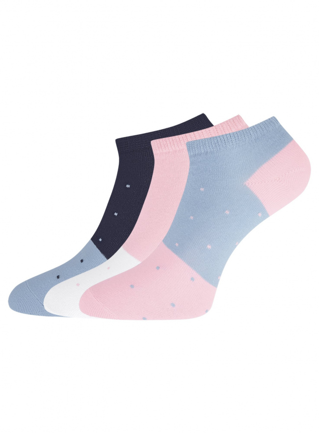 Комплект из трех пар укороченных носков oodji для женщины (разноцветный), 57102433T3/47469/101
