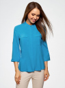Блузка вискозная с регулировкой длины рукава oodji #SECTION_NAME# (синий), 11403225-3B/26346/7500N - вид 2