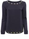Комбинированная трикотажная блузка oodji для женщины (синий), 21301387/43616/7997P