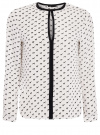 Блузка из струящейся ткани с контрастной отделкой oodji #SECTION_NAME# (белый), 11411059/43414/1029K