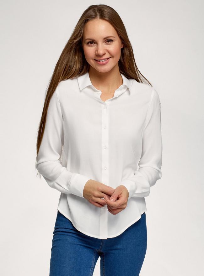 Блузка базовая из вискозы oodji #SECTION_NAME# (белый), 11411136B/26346/1200N
