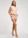 Пижама хлопковая с оборками oodji для женщины (розовый), 56002236/47664N/4012S